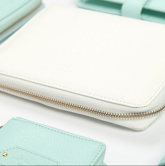 Dokibook 2015 new notebook Mint white A5 A6 Spiral Time Planner pencil case Creative Zipper leather books Diary Agenda