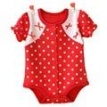 2016 лето ползунки малышей детские платья кружева бантом хлопок треугольник новорожденных комбинезон 3-12 М девочка одежда