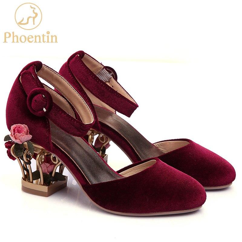 Phoentin bride à la cheville boucle chaussures de mariage femmes oiseau cage fleur talon femmes en cuir véritable chaussures pompes velours mary jane FT266