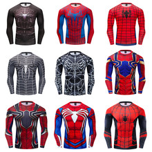 High-End Spiderman Tempur Koleksi Pakaian Lengan Panjang 3D T-shirt Kompresi A Hauts CrossFit T-shirt Gymnases Kebugaran(China)