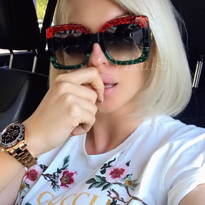 2018 Italy Luxury Brand Oversized Square Sunglasses Women Men Brand Designer Retro Frame Sun Glasses For Female Green Red oculos