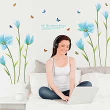 3D Blue Lily Flower Sticker Home Decoration Wall Decals