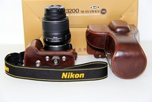 Free Shipping High Quality Camera Case PU Leather Bag for Nikon D3200 D3100 D3300 D3400 Cameras with 18-55mm VR Lens Coffee
