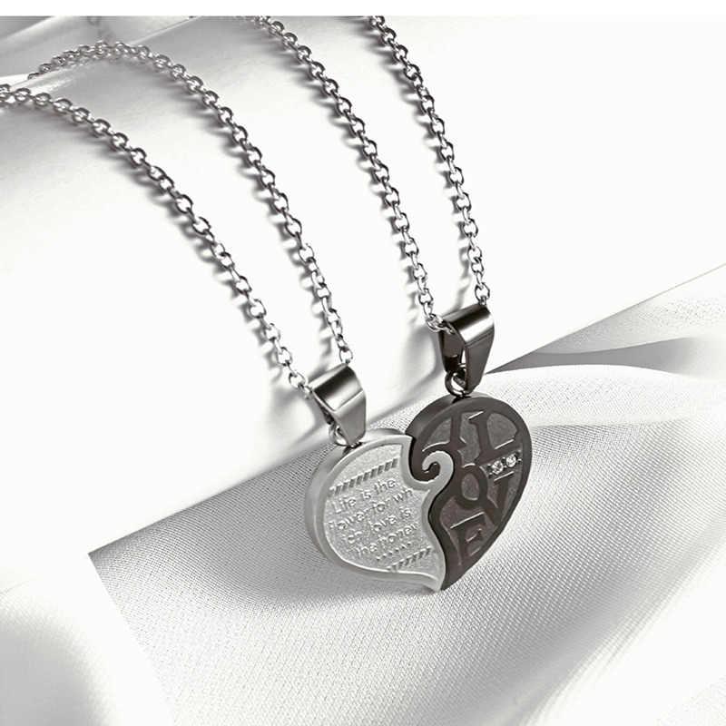 Два Цвета Нержавеющаясталь Мужские Женские Пары Цепочки и ожерелья подвеска сердце любовь головоломки соответствующие