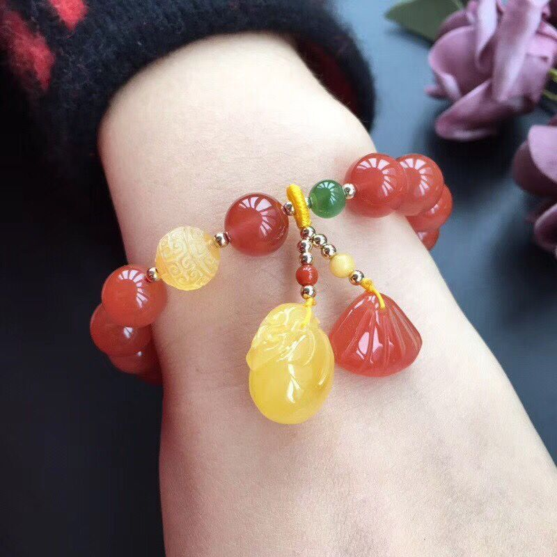Useful Natural South Red Bracelet 10.5mm South Red Paired With Wax Jasper Wax Purse Pendant South Red Shell Pendant Moderate Price