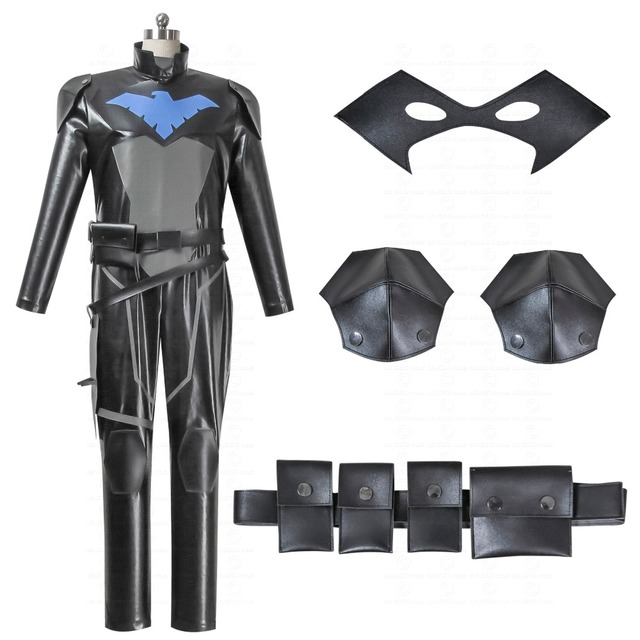 a55c1d12296f Young Justice cosplay costume Robin Nightwing cosplay We provide you with a  full set of super hero men s PU leather jumpsuit