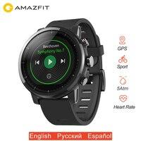 Оригинальный Amazfit Stratos 2 умные часы gps Smartwatch 1,34 большой экран 5ATM водостойкий мульти спортивный режим PPG пульсометр