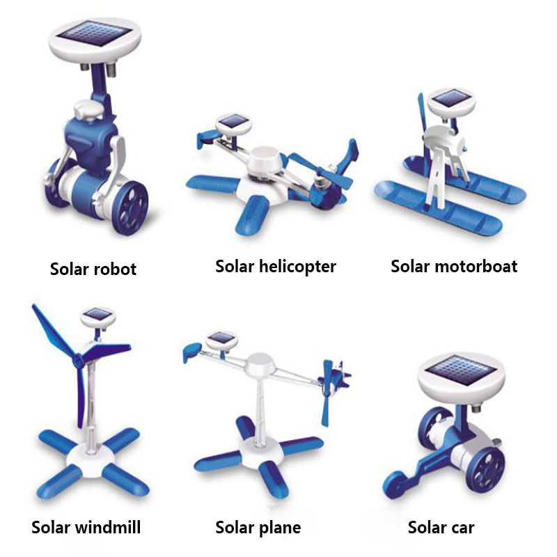 Hot 6-In-1 Power Solar Transformation Robot DIY Toy Solar Battery Powered Transform Educational Learning For Kids TOYS