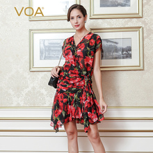 Beach red floral printing mini dress VOA short sleeve v neck knee dress irregular sashes silk dresses plus size A7328
