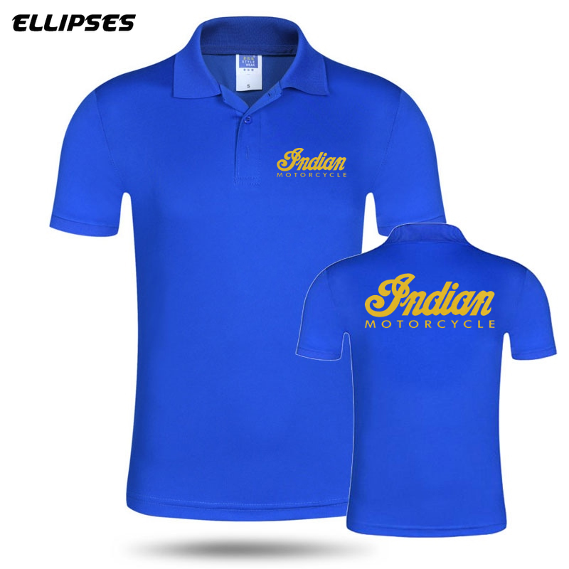 New Men Woman Summer Business & Casual Indian Motorcycle   Polo   Shirt Short Sleeve Breathable Solid Colour Indian   Polo   Shirt