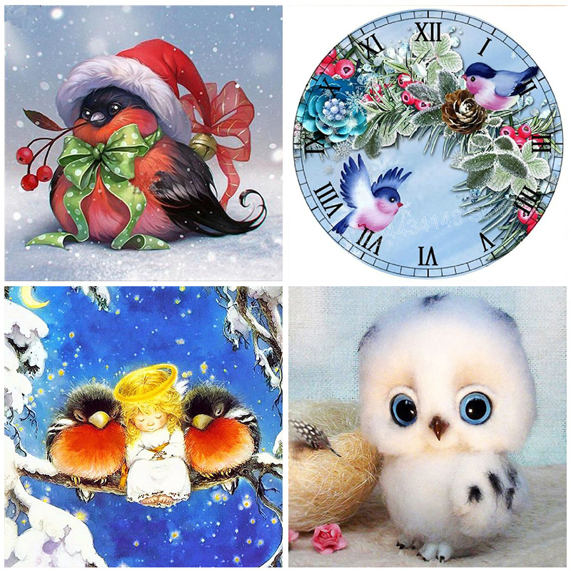 5D Diamond Painting Birds Full Round Drill Embroidery DIY Kit Animal Home Decoration Mosaic Crystal Cross Stitch Handmade Gifts in Diamond Painting Cross Stitch from Home Garden