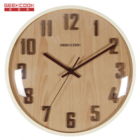 Geekcook 12 inch Traditional Wood Wall Clock with glass Quartz Wall Clocks home decor for bedroom Convex Face digital wall clock