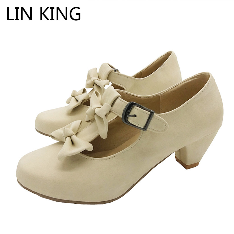 LIN KING Summer Size 34-39 Women Sweet Bow Lolita Low Heel Dress Shoes Princess Pumps Student Party Shoes Round Toe Ladies Pumps princess sweet lolita shoes royal harajuku pink strawberry bell cute bow round toe pumps for young girl custom color can choose