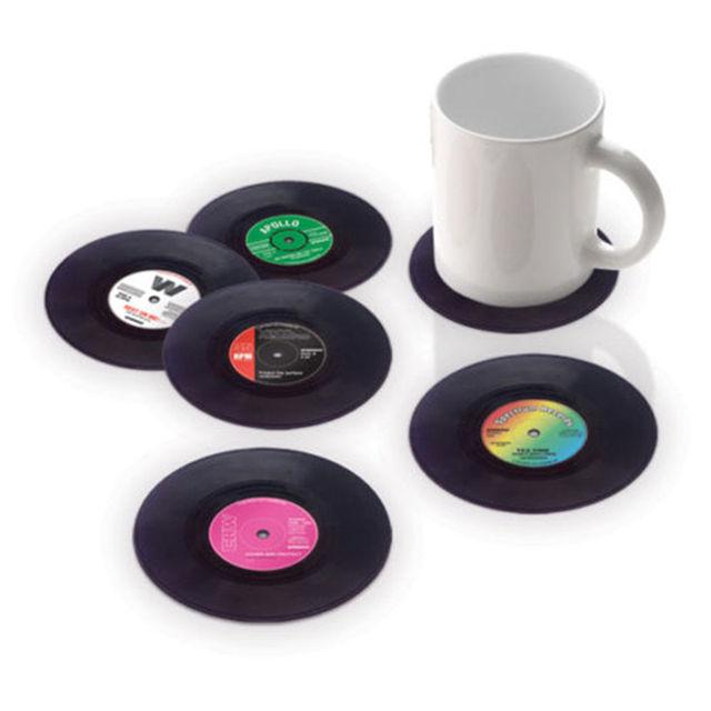 6 Pçs/lote Útil Vinil Coaster Copo Disco de Suporte para Bebidas Groovy Mat Mesa Toalha de Mesa