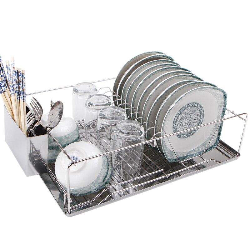 Grand bol rack à un niveau 304 en acier inoxydable drain plat rack plaque rack vaisselle étagère de stockage produits