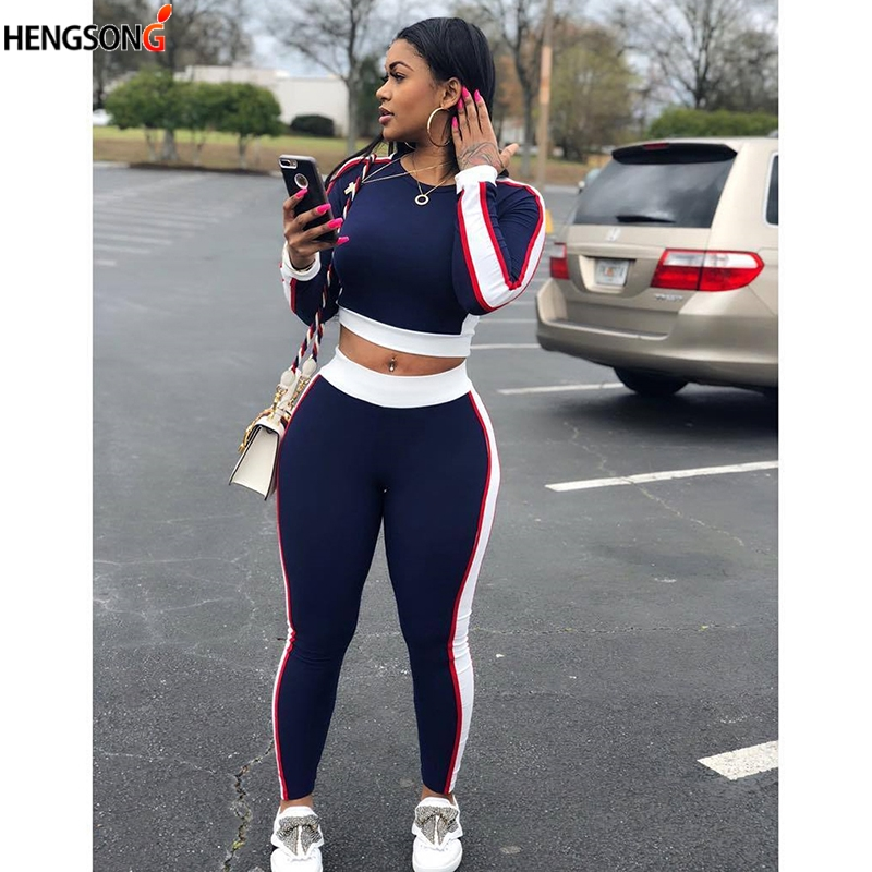 Hengsong two piece set tracksuit for women elegant top and pants set 2018 womens casual sweat suits stripe fitness autumn outfit