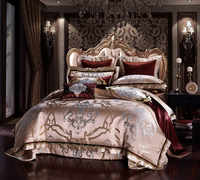 Golden Silk Cotton Luxury Satin Jacquard Bedding Set Queen King size Wedding Bedding Sets Bed Sheet/Spread Set Duvet Cover