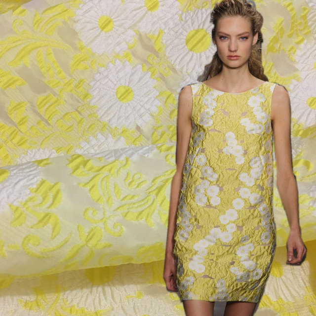 Thin Brocade Jacquard Fabric Yellow Color Summer Flowers Dress Tissu Polyester Sunflowers