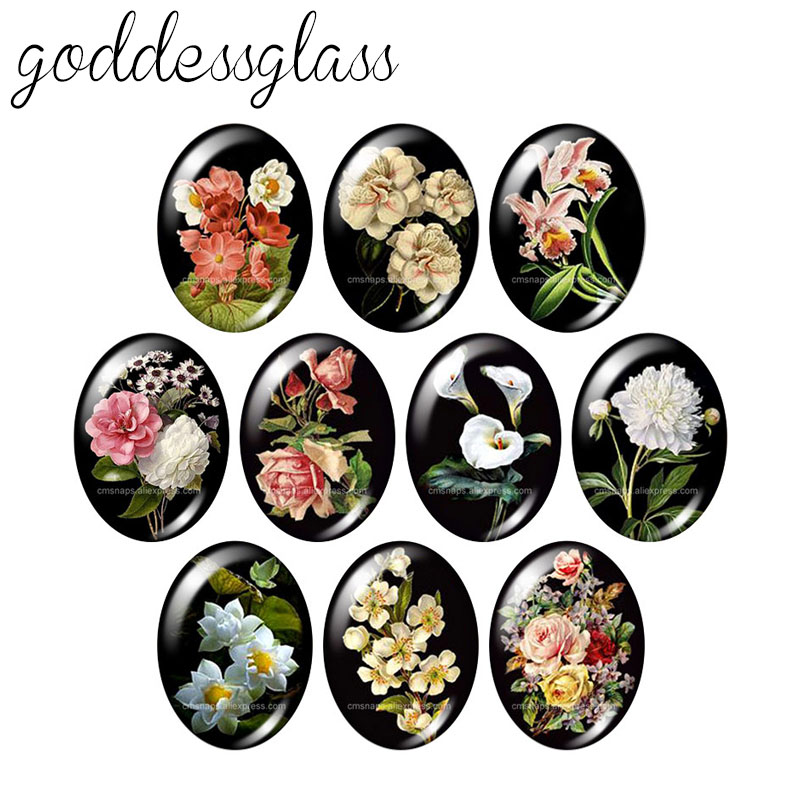 Beauty Vintage Flowers Rose Daisy 10pcs 13x18mm/18x25mm/30x40mm Oval Photo Glass Cabochon Demo Flat Back Making Findings TB0043