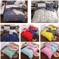 Fashion 4Pcs Twin Full Queen Size Bed Quilt Duvet Cover Set White Blue Yellow Red Blue
