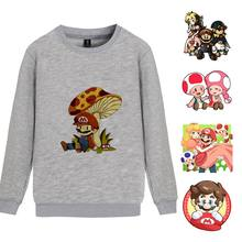 Hot Games Super Mario O-NECK Cartoon Pattern Cool Design Cotton Unisex Sweatshirts with Pocket Leisure Fashion Jumper A193161(China)