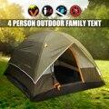 4 человека двухслойные палатки водонепроницаемые УФ устойчивые к погоде Семейные уличные, для охоты и рыбалки кемпинговая палатка для вече...