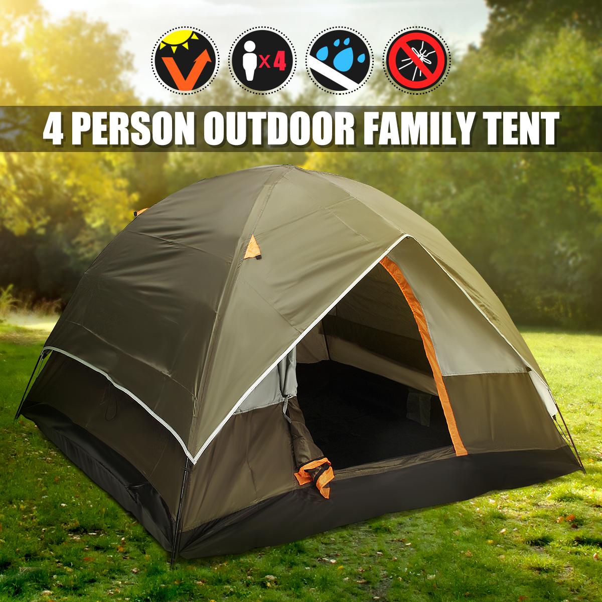 4 Person Double layer Tents Waterproof UV Weather Resistant Family Outdoor Fishing Hunting Party Camping Tent Beach Travel