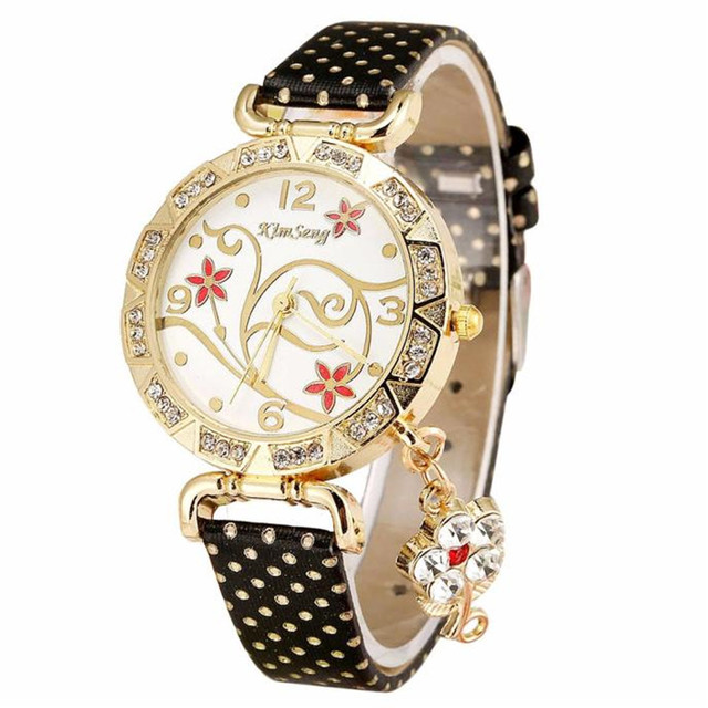 2018 New Arrival Hot Women Orchid Pattern Bracelet Leather Diamond Quartz Wrist