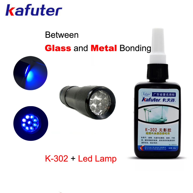free shipping50g Kafuter UV Glue UV Curing Adhesive K-302+9LED UV Flashlight UV Curing Adhesive Crystal Glass and Metal Bonding kafuter 50ml uv glue uv curing adhesive k 300 transparent crystal and glass adhesive