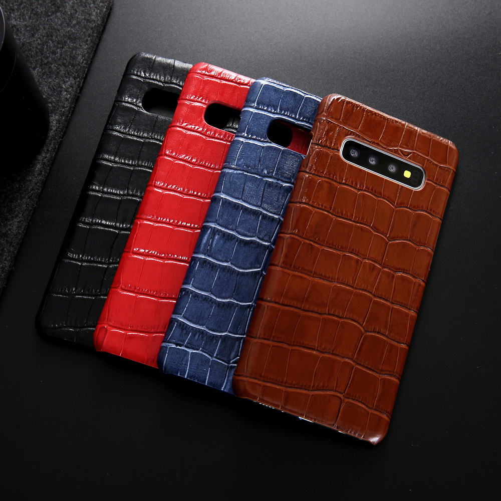 8f81ed8e3 For Samsung Galaxy S10 Plus Leather Case Luxury Crocodile Pattern Genuine  Leather Back Phone Case Cover for Galaxy S10 Funda-in Fitted Cases from  Cellphones ...