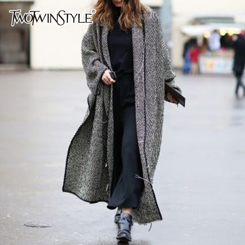 TWOTWINSTYLE Tweed Women Trench Coat Tassel Loose Long Sleeve Asymmetric Hem Coats Female 2020 Autumn Streetwear Fashion Clothes