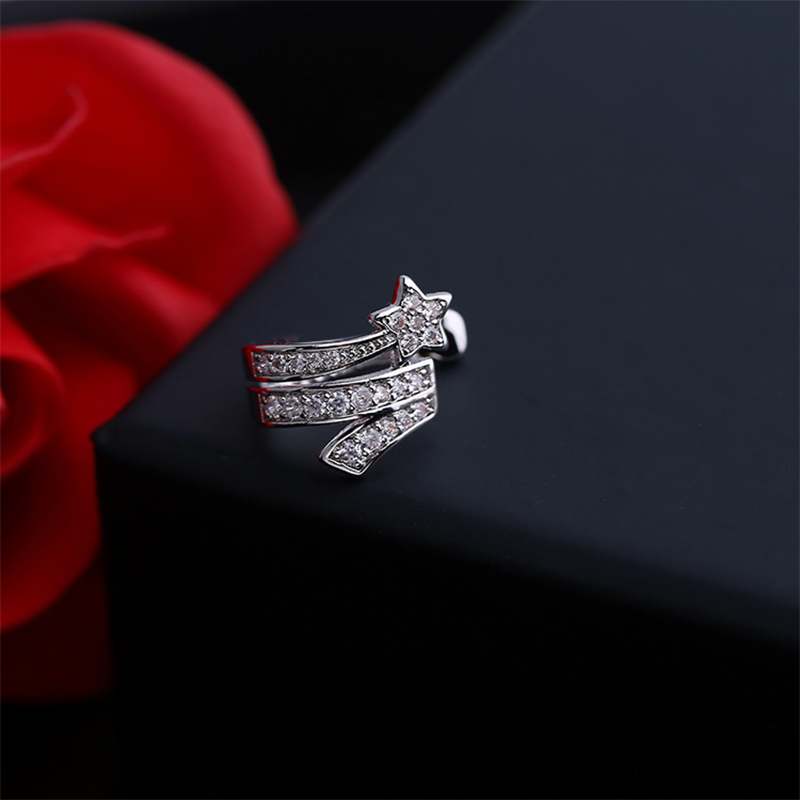 Elegant Star Earrings Wanita Ear Cuff Pernikahan Anting Perhiasan Hadiah Kristal Earings Fashion Jewelry 2017 Brincos AE347