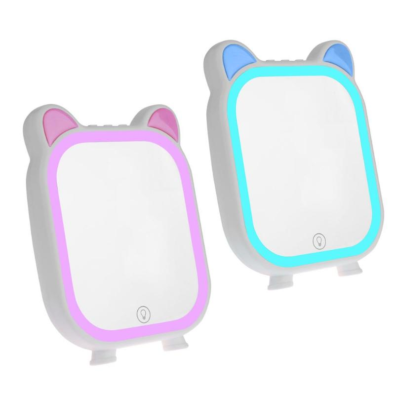Smart LED Cosmetic Light Mirror with 3 Modes Music Bluetooth Speaker Cute Make up Mirror Cosmetic Tools LED Mirror jl lithe fold make up cosmetic mirror w 8 led light black