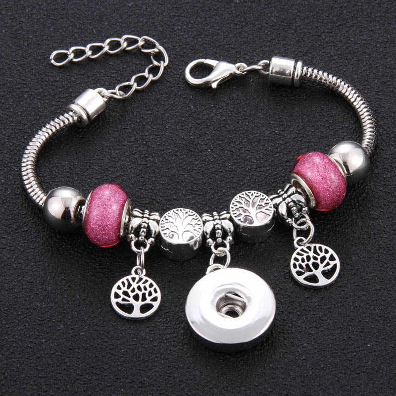 Silver Trendy Metal Beading Snap Bracelet Snap Button Bracelet Bangles fit 18MM Snap Jewelry Tree Beads Making Jewelry
