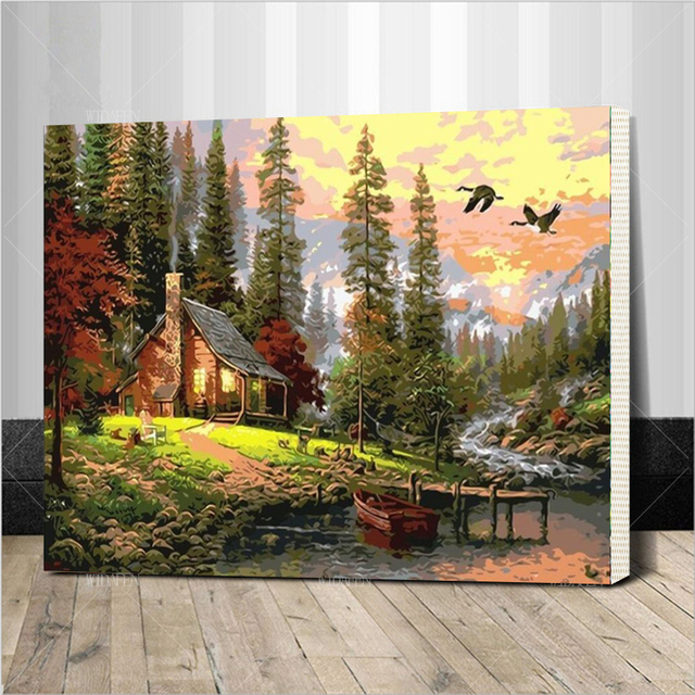 Aliexpress Buy Diy Oil Painting By Numbers Frame Drawing Kits