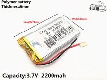 1 sztuk/partia 3.7 V 2200 mAH 604070, polimerowa bateria litowo jonowa/akumulator litowo jonowy do DVR, GPS, mp3, mp4