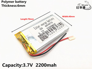 Image 1 - 1pcs/lot 3.7V 2200mAH 604070 Polymer lithium ion / Li ion Rechargeable battery for DVR,GPS,mp3,mp4