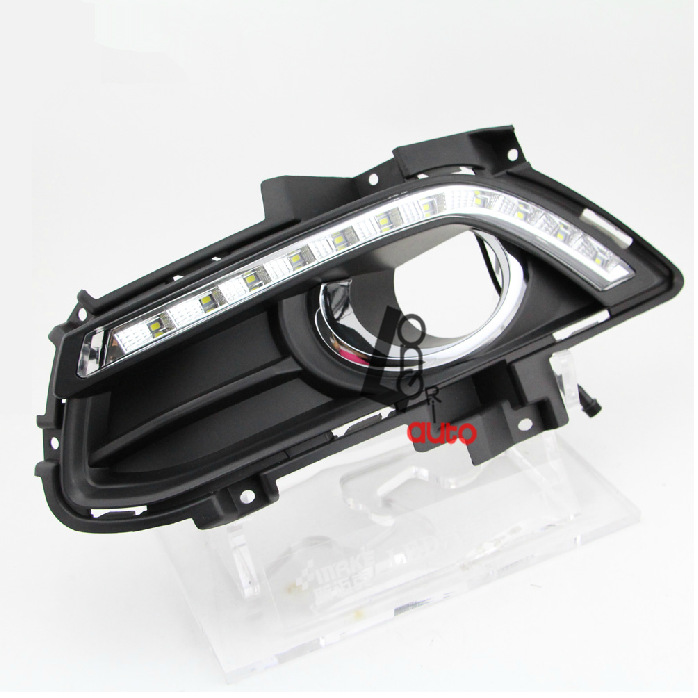 car styling Led Daytime Running Light For Ford Mondeo Fusion Fog Lamp Cover DRL 2013-2014 for mondeo 2013 2016 led drl driving daytime running day light waterproof fog lamp light cover car accesories