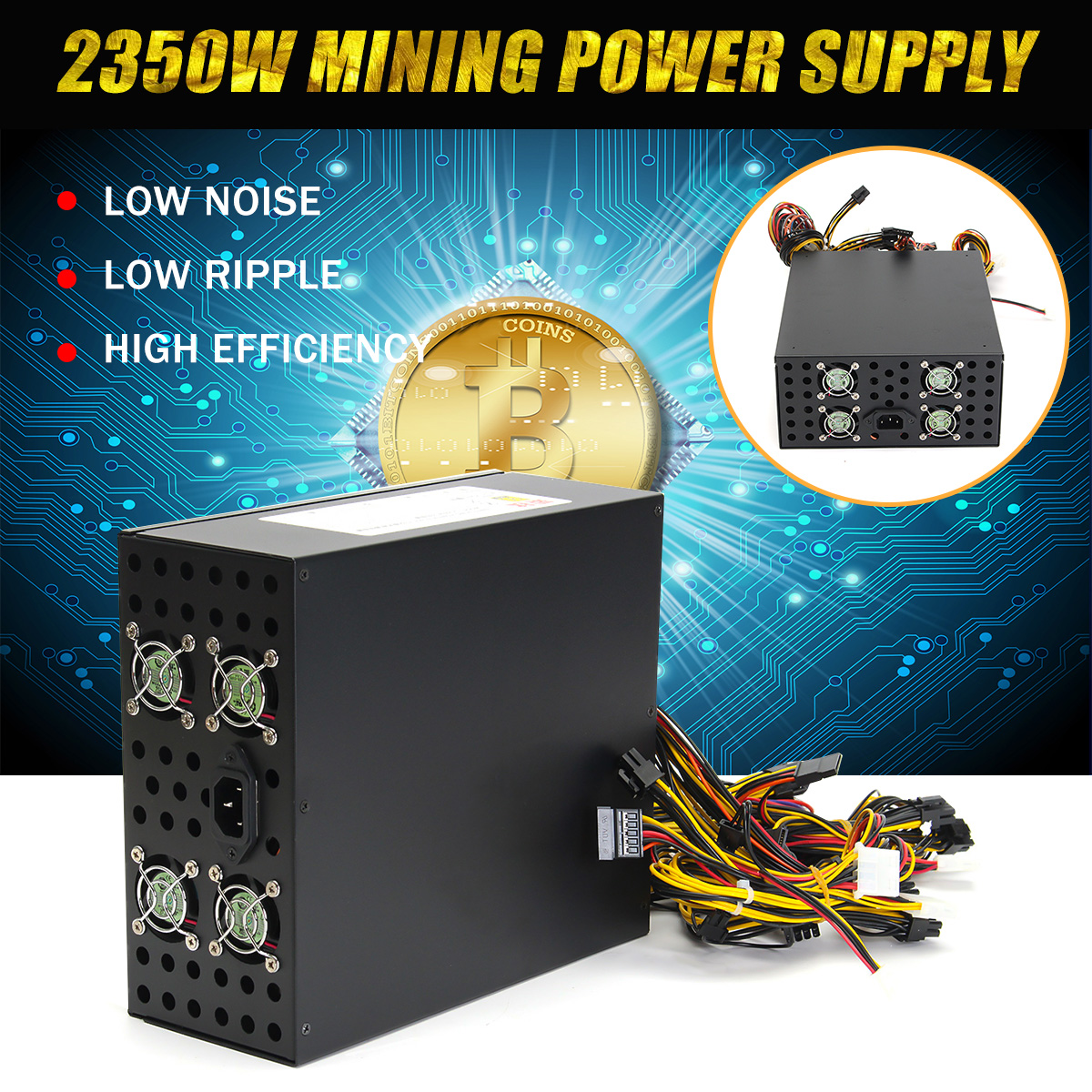 LEORY 1Pcs 2350W Power Supply For Eth Rig Ethereum Coin Mining Miner Dedicated Machine Computer PC Power Supplies For BTC high quality 1300w power supply for 6 gpu eth rig ethereum coin mining miner dedicated machine new computer power supply for btc