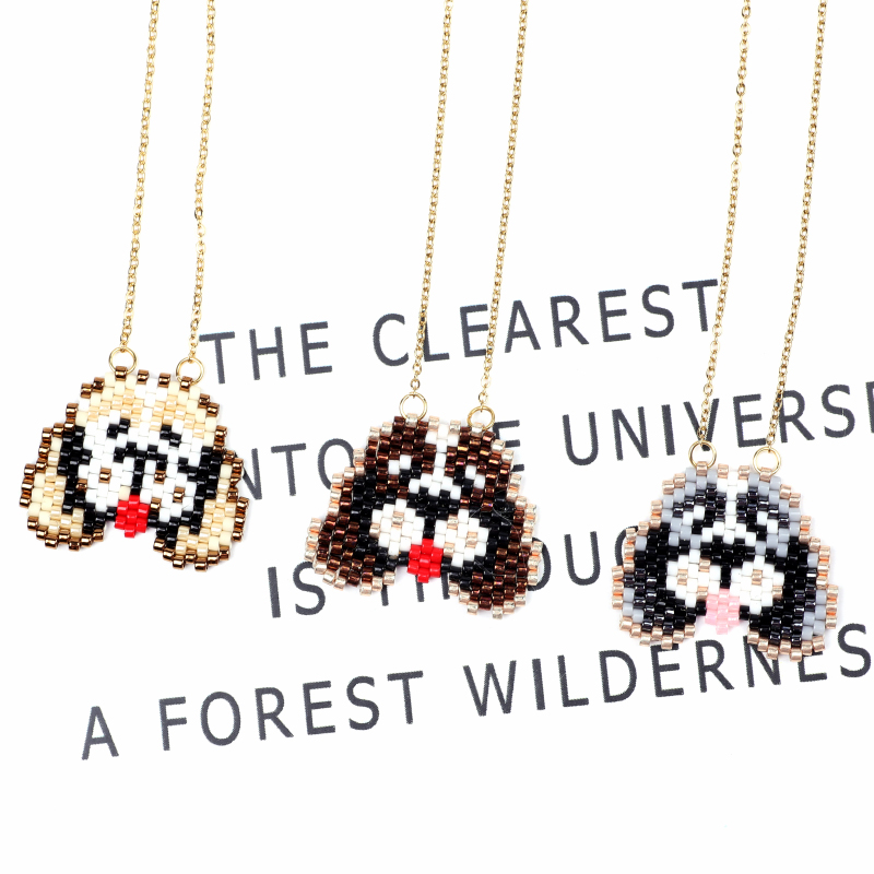 FAIRYWOO New Bead Necklaces For Women Fashion Pendant Necklace Animal Dog Pendant Trendy Handmade Jewelry Gold Chain Long Choker in Pendant Necklaces from Jewelry Accessories