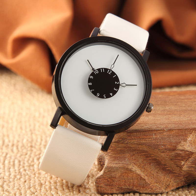 Energiek Hot Mode Creatieve Horloges Vrouwen Mannen Quartz-horloge 2018 Merk Unieke Wijzerplaat Ontwerp Lovers 'horloge Lederen Horloges Klok