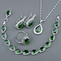 Criado verde Esmeralda Branco Topaz 925 Sterling Silver Conjuntos de Jóias Para As Mulheres Pulseiras Brincos Anéis Colar de Pingente de Caixa Livre