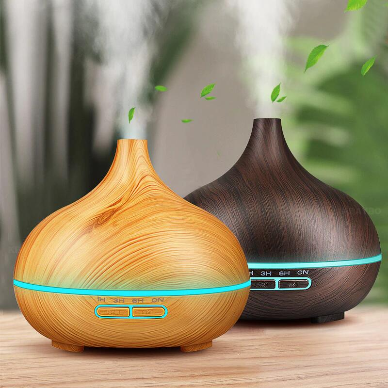 Aroma Ätherisches Öl 300 ml Diffusor Ultraschall-luftbefeuchter mit Holzmaserung 7 Farbwechsel Led-leuchten für Office Home