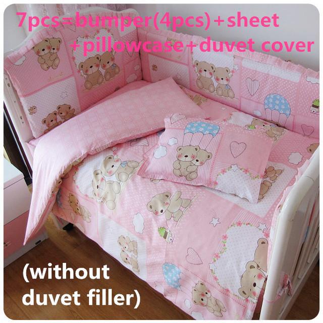 Promoção! 6 / 7 PCS conjuntos de cama bebê bonito impressão de algodão, 120 * 60 / 120 * 70 cm