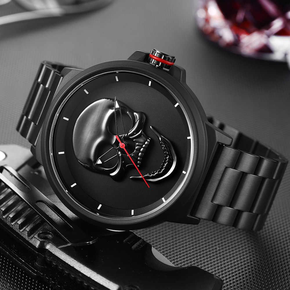 שעון זכר ייחודי עיצוב גולגולת שעונים גברים נשים יוקרה מותג ספורט קוורץ צבאי פלדת שעון יד גברים relogio masculino