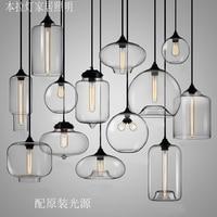 New American Industrial Loft Vintage Pendant Lights Clear Glass Style Iron Edison Glass Retro Loft Vintage