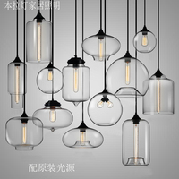 New American industrial loft vintage pendant lights clear glass style iron edison glass retro loft vintage pendant lights lamp
