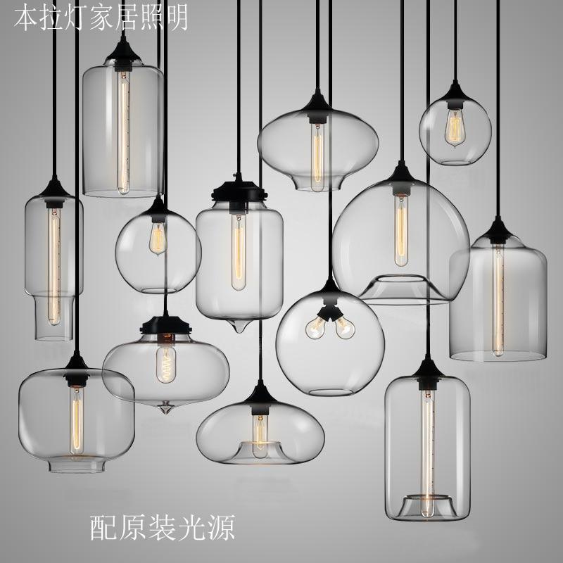 New American Industrial Loft Vintage Pendant Lights Clear Glass Style Iron Edison Glass Retro Loft Vintage Pendant Lights Lamp