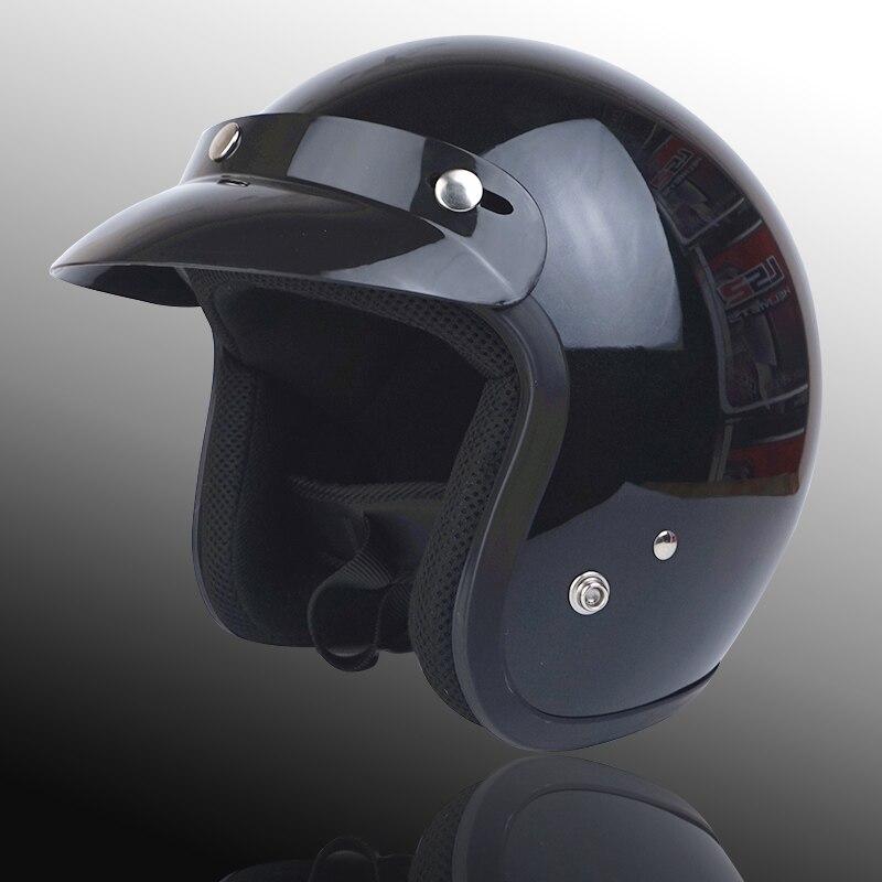 Для взрослых с открытым лицом Jet Casco moto Винтаж moto rcycle шлем moto rbike Ретро шлем скутер 3/4 полушлем capacete de moto cicleta - Цвет: gloss black