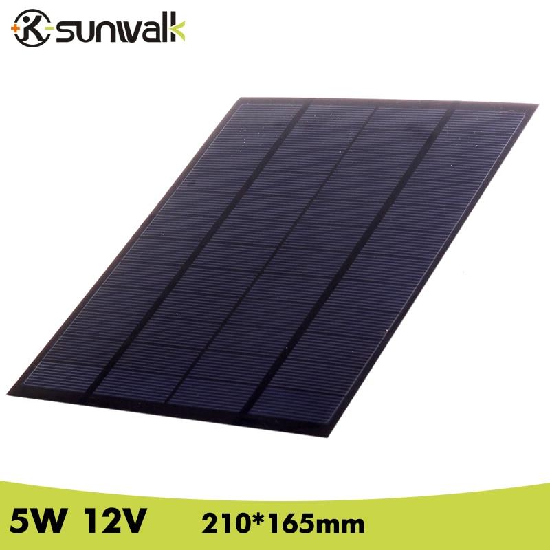 SUNWALK Solaire Module de Panneau de Cellules 5 W 12 V 410 mAh Polycristallin PET Mini Panneau Solaire pour Système Solaire et Test 210*165mm
